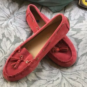 Super comfy Talbots red suede leather moccasins